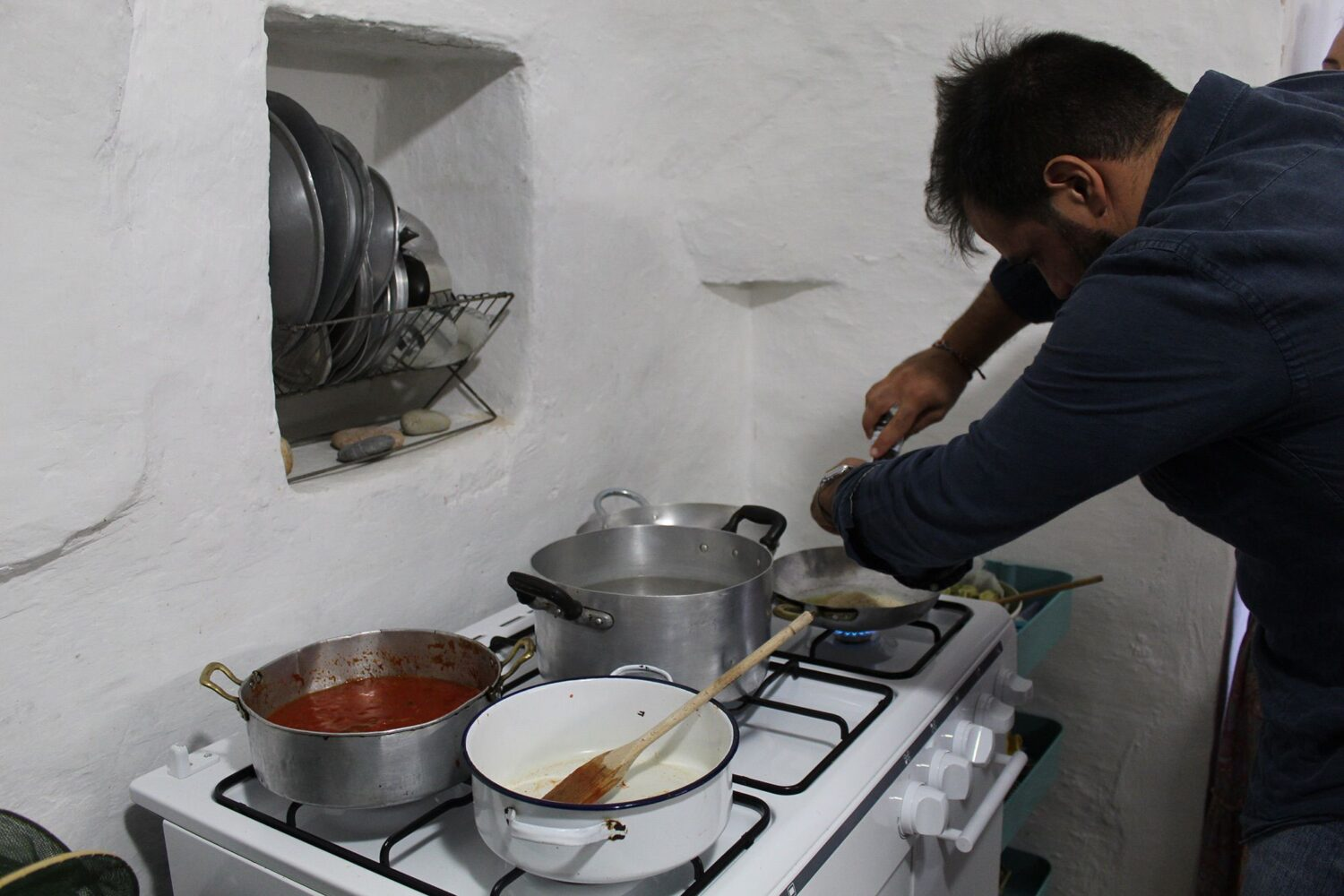 Making traditional local dishes Puglia