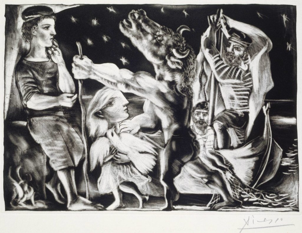 Work by Pablo Picasso Blind minotaur led by a child