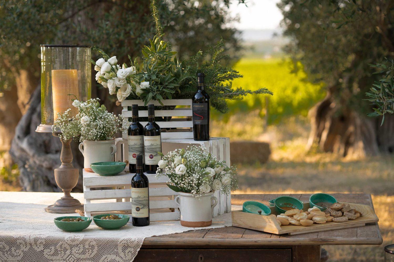 Degustazione di vino nel vigneto in Puglia