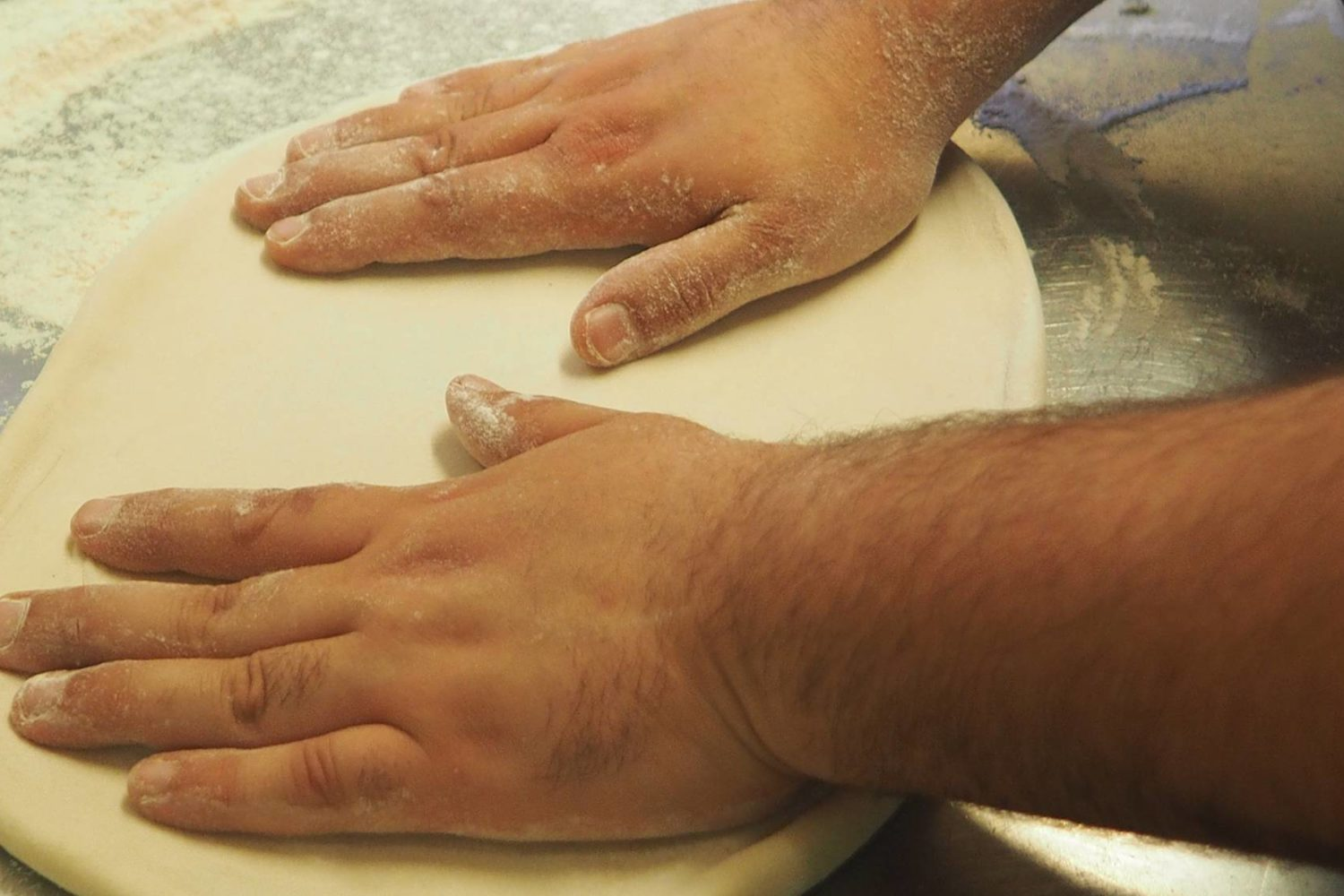 Making pizza dough in Puglia